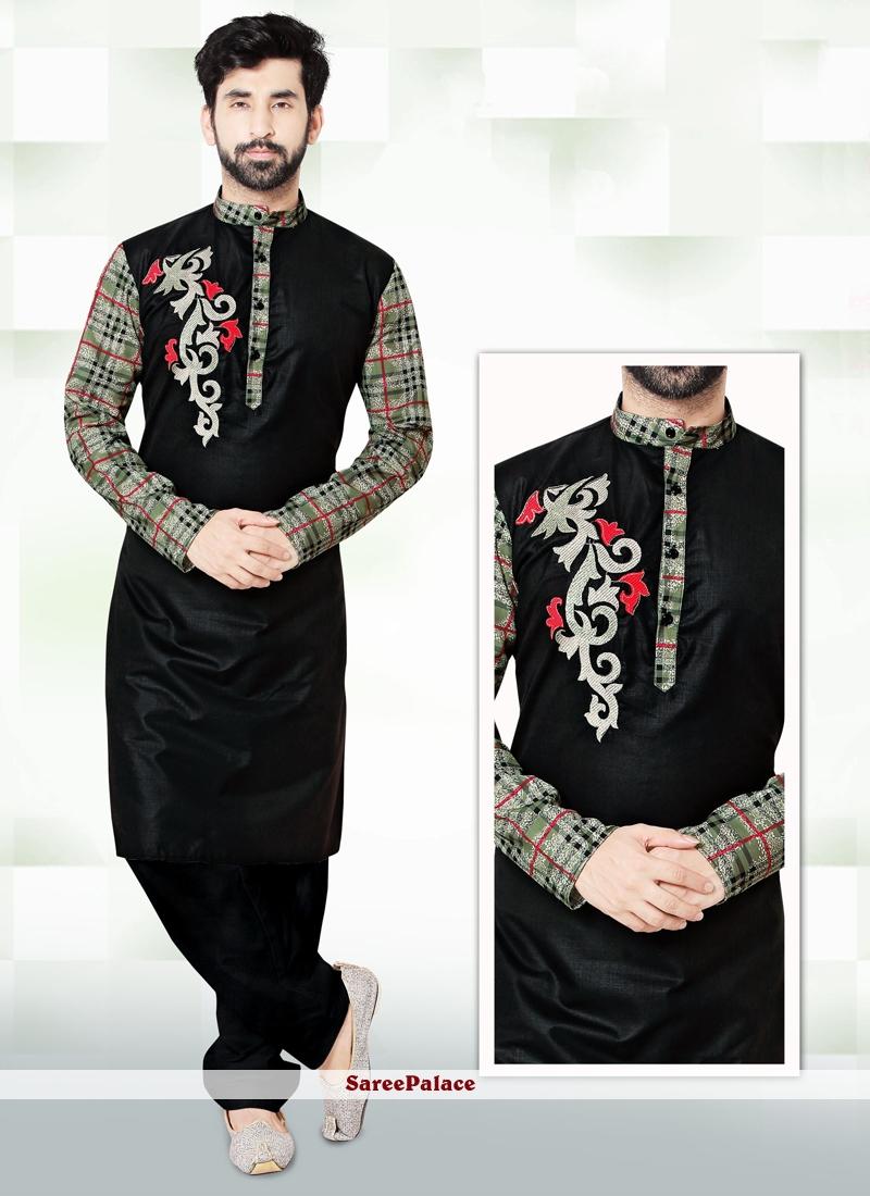 Black Embroidered Work Cotton   Kurta Pyjama