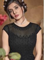 Black Engagement Floor Length Anarkali Suit