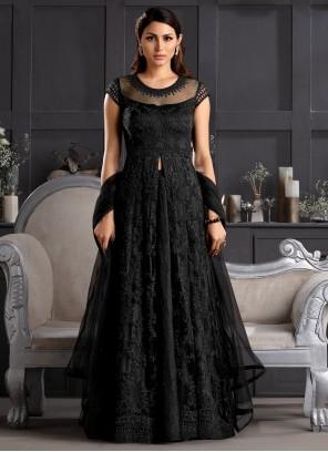 Black Engagement Net Salwar Suit