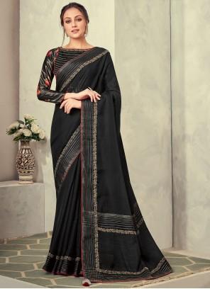 Black Fancy Fabric Classic Saree