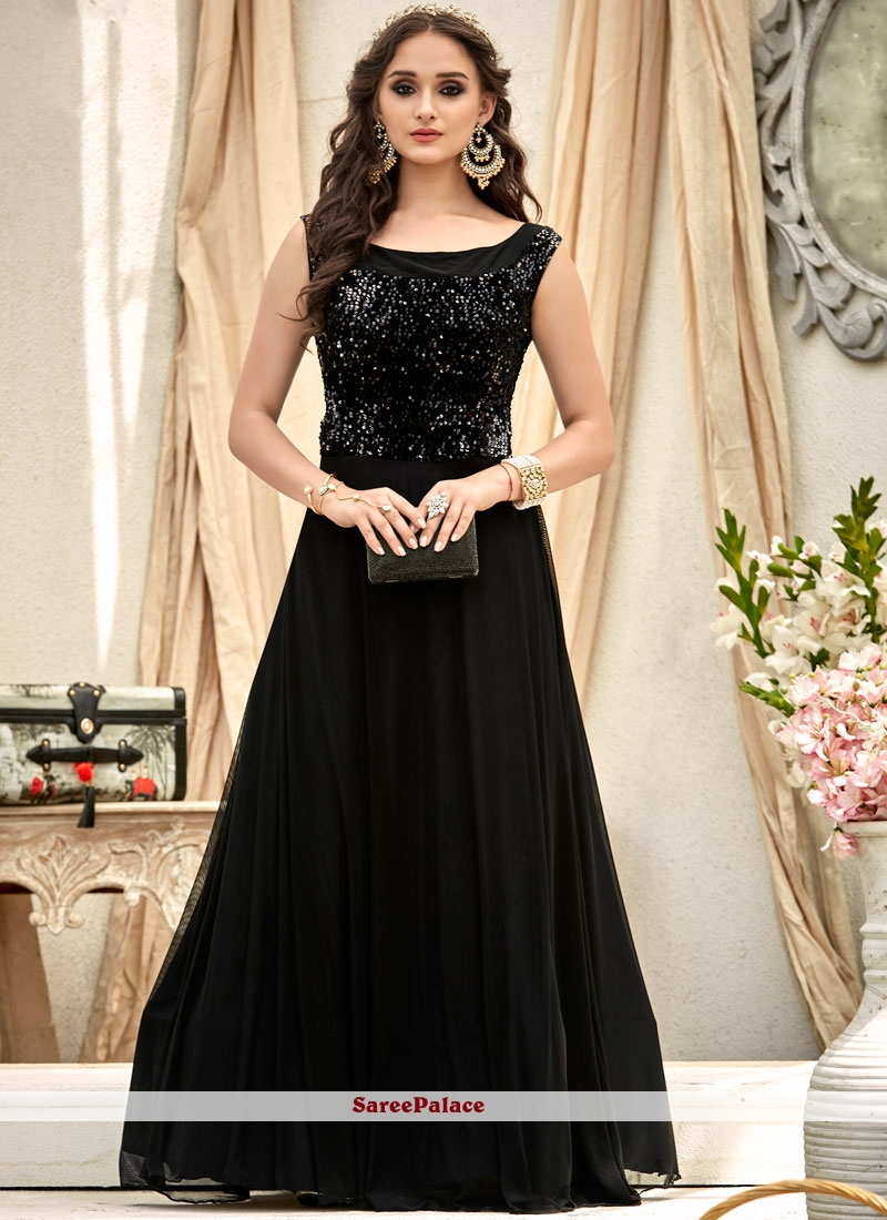5c53d52a6b Buy Black Fancy Fabric Embroidered Work Designer Gown Online