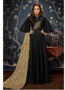 Black Fancy Fabric Handwork Readymade Gown