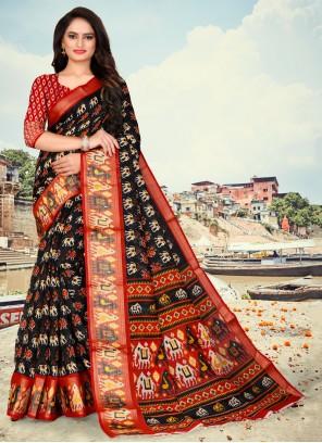 Black Fancy Fabric Printed Saree