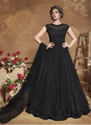Black Fancy Net Floor Length Anarkali Suit