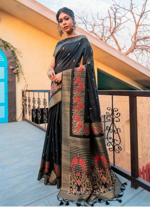 Black Tussar Silk Fancy Traditional Saree