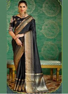 Black Fancy work Work Silk Designer Saree