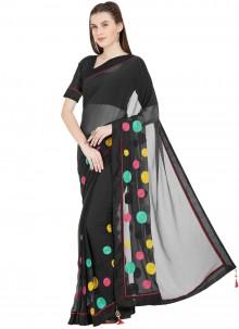 Black Faux Chiffon Casual Printed Saree