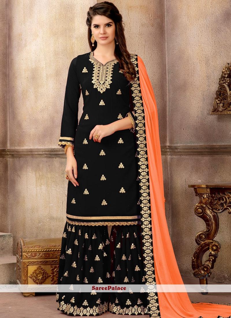 26cd616b90 Buy Black Faux Georgette Embroidered Designer Pakistani Suit Online