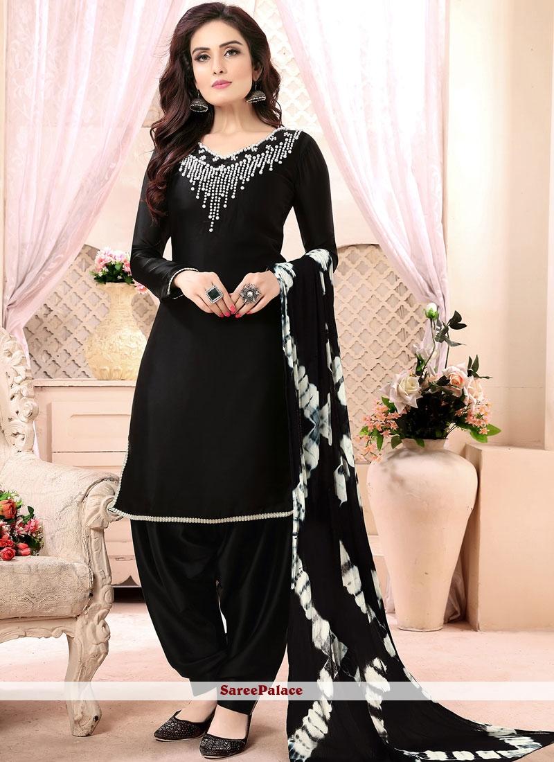 Black Faux Georgette Punjabi Suit