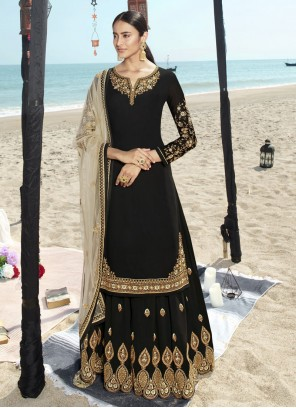 Black Faux Georgette Salwar Suit