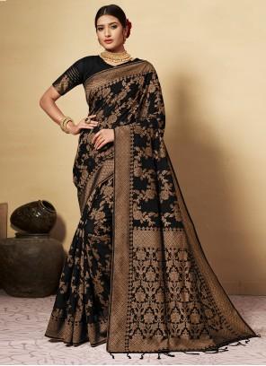 Black Festival Banarasi Silk Classic Designer Saree