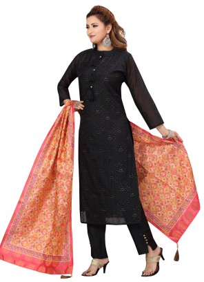 Black Festival Chanderi Readymade Suit