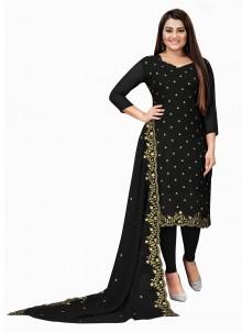 Black Embroidered Festival Churidar Designer Suit