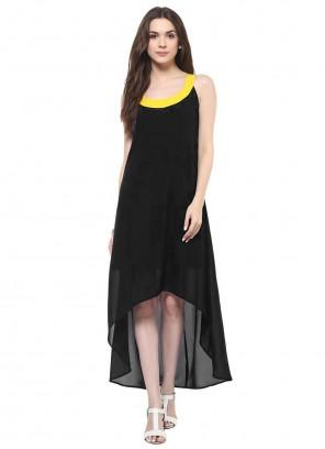Black Festival Georgette Party Wear Kurti