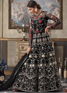 Black Festival Net Floor Length Anarkali Suit