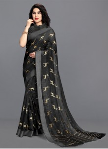 Black Festival Printed Saree