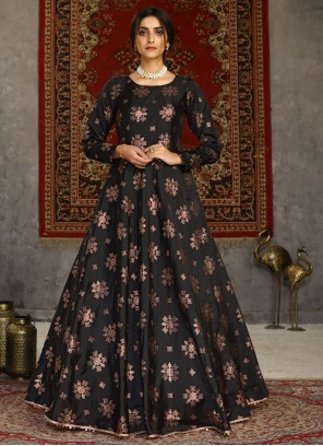 Black Festival Tafeta Silk Designer Gown