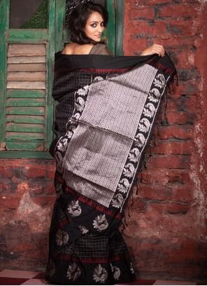 Black Raw Silk Festival Traditional Saree