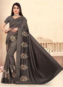 Black Festival Vichitra Silk Traditional Designer Saree
