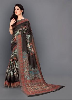 Black Floral Print Party Classic Saree