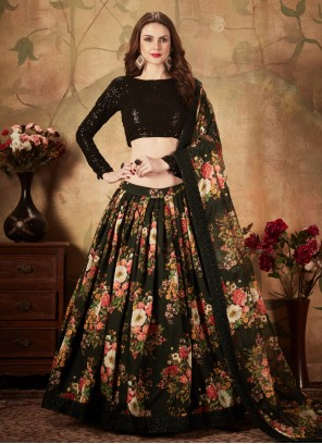 Black Floral Print Trendy Lehenga Choli