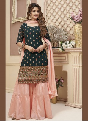 Black Georgette Embroidered Designer Palazzo Suit