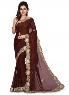 Black Georgette Embroidered Designer Traditional Saree