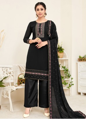 Black Georgette Festival Trendy Straight Salwar Suit