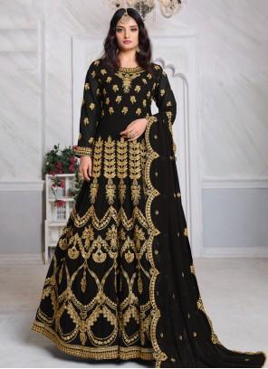 Black Georgette Floor Length Salwar Kameez