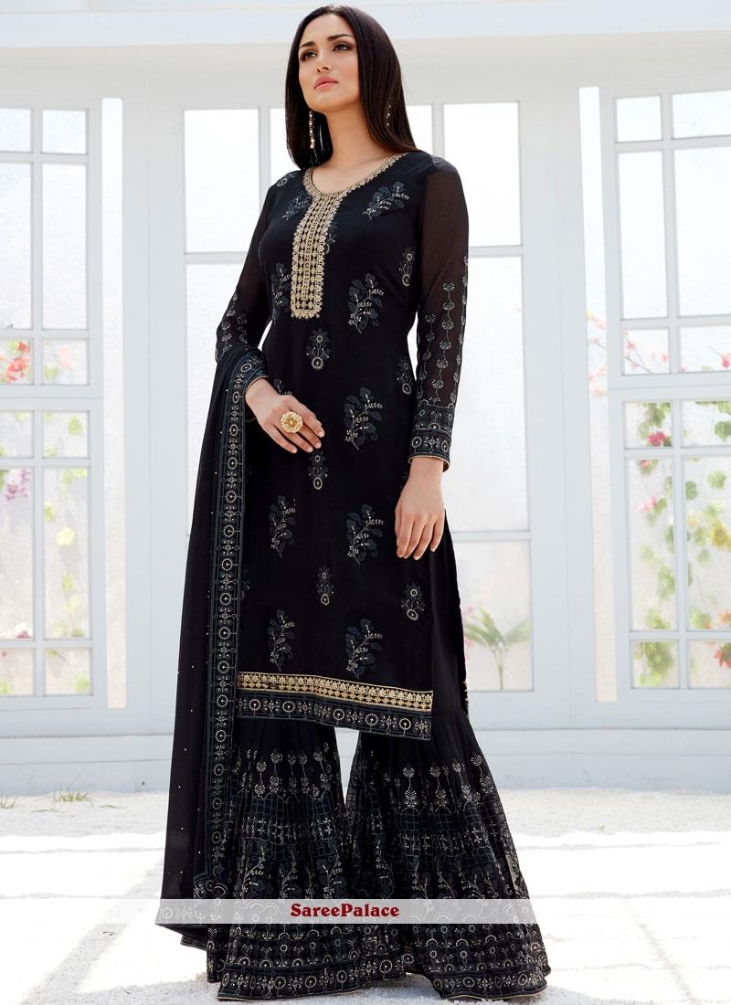 Black Georgette Mehndi Palazzo Designer Salwar Suit