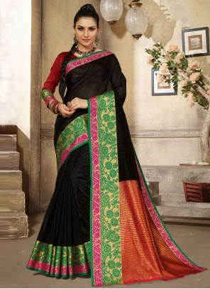Black Handloom Cotton Traditional Designer Saree