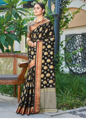 Black Handloom silk Engagement Designer Traditional Saree