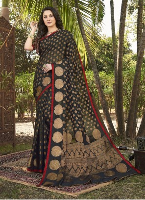 Black Handloom silk Weaving Trendy Saree