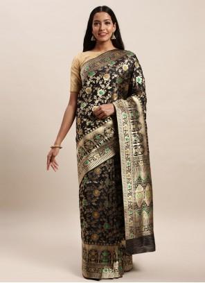 Black Jacquard Silk Designer Traditional Saree