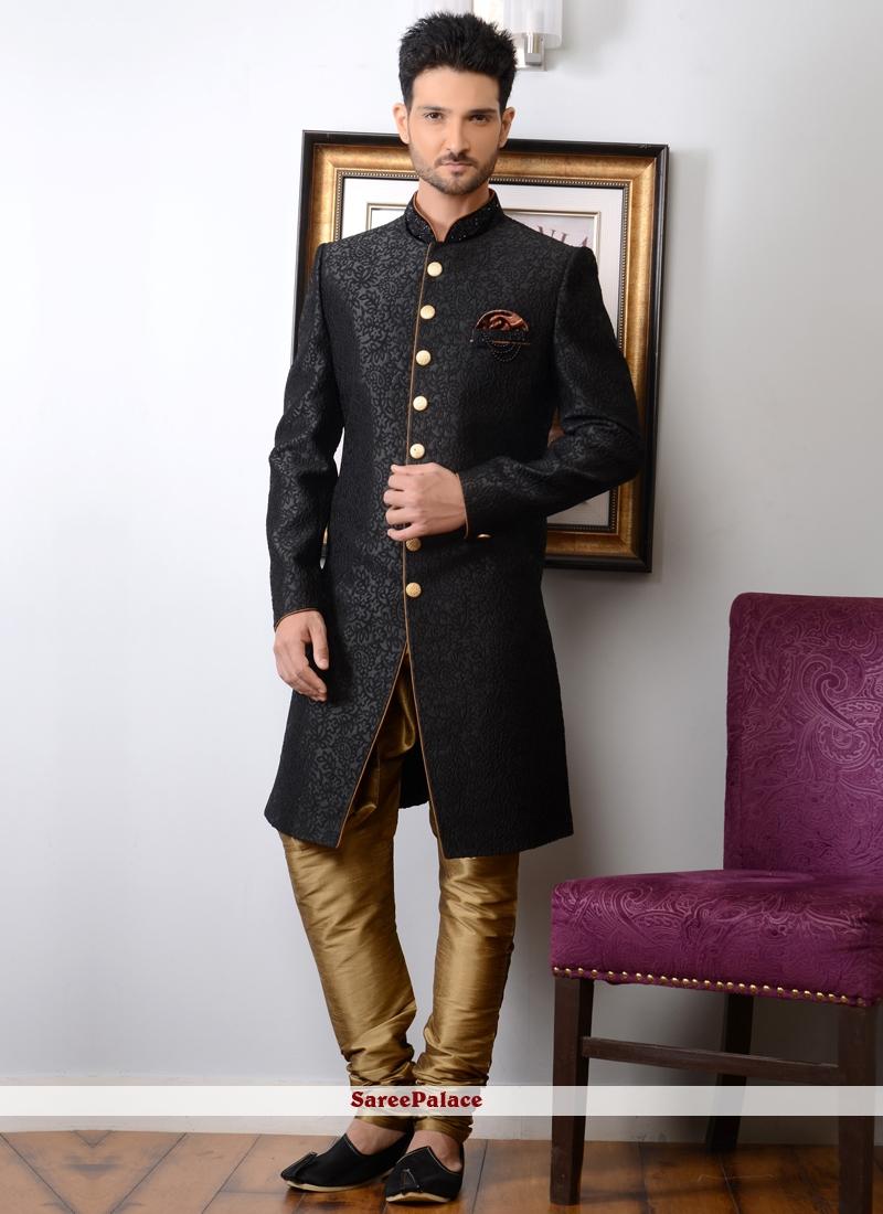 Black Jacquard Silk Embroidered Work Indo Western Sherwani