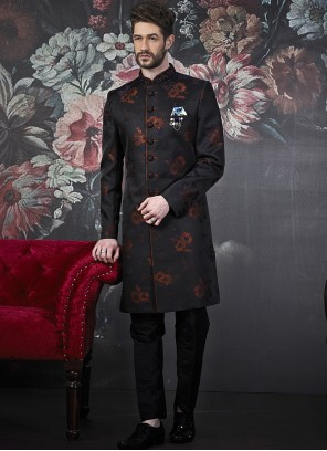 Black Jacquard Silk Indo Western