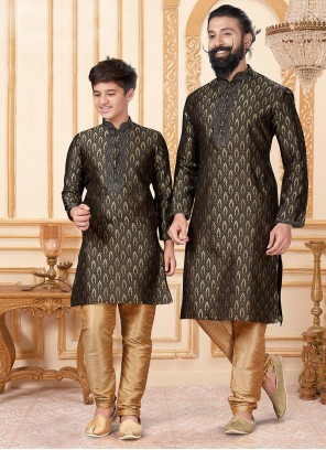 Black Jacquard Silk Kurta Pyjama