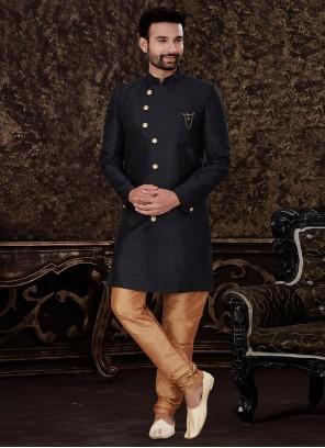 Black Jacquard Silk Reception Indo Western