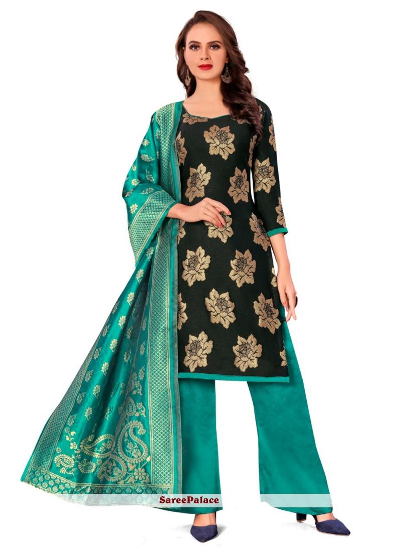 Black Jacquard Work Banarasi Silk Pant Style Suit
