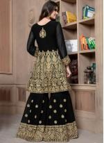 Black Lace Faux Georgette Designer Palazzo Suit