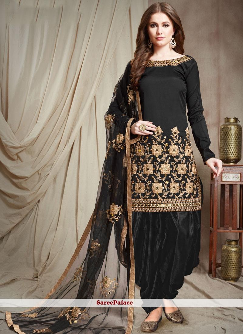 Black Lace Festival Designer Patiala Suit