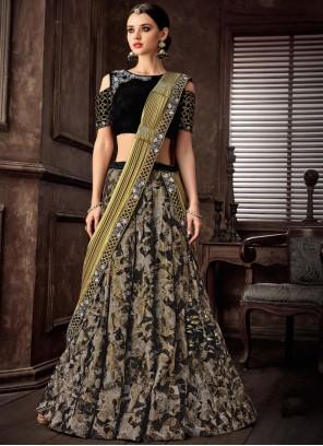 Black Lace Lehenga Style Saree