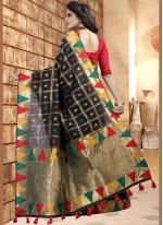 Black Linen Designer Saree