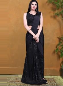 Black Lycra Designer Saree