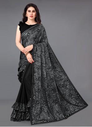 Black Lycra Printed Saree