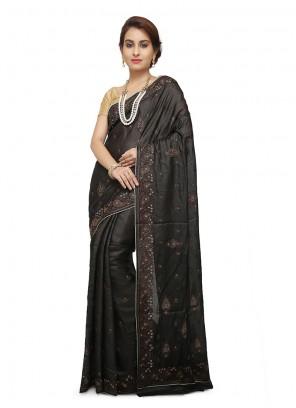 Black Mehndi Art Banarasi Silk Designer Traditional Saree