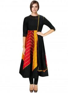 Black Mehndi Art Dupion Silk Salwar Suit