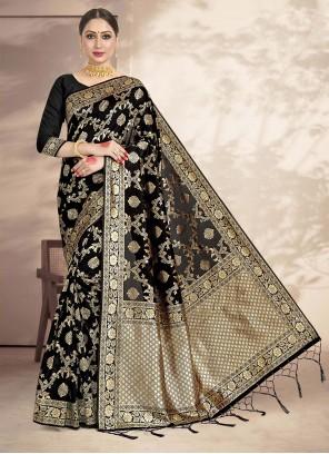 Black Mehndi Art Silk Ceremonial Saree