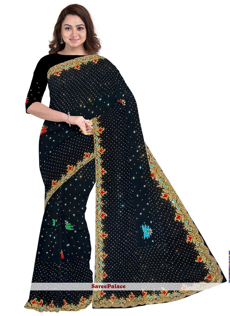 Black Mehndi Georgette Designer Saree