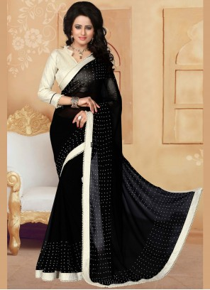 Black Moti Work Saree